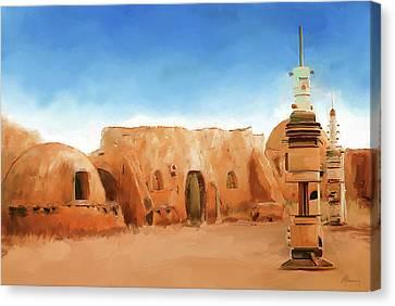 Star Wars Film Set Tatooine Tunisia Canvas Print by Michael Greenaway