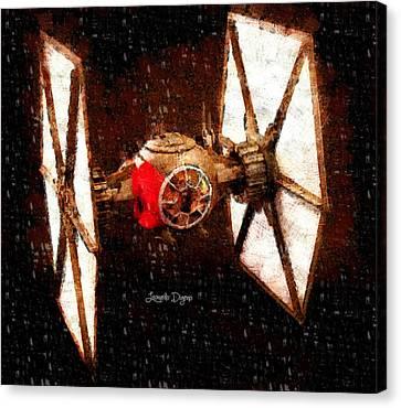 Star Wars First Order Tie Fighter  - Wax Style -  - Da Canvas Print by Leonardo Digenio