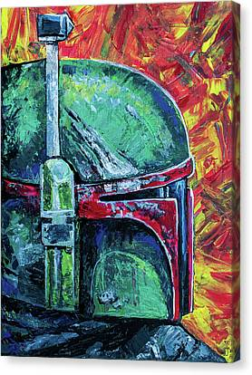 Canvas Print featuring the painting Star Wars Helmet Series - Boba Fett by Aaron Spong