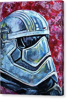 Canvas Print featuring the painting Star Wars Helmet Series - Captain Phasma by Aaron Spong