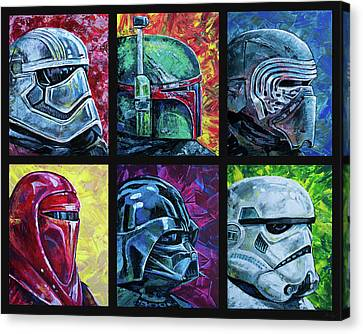 Canvas Print featuring the painting Star Wars Helmet Series - Collage by Aaron Spong