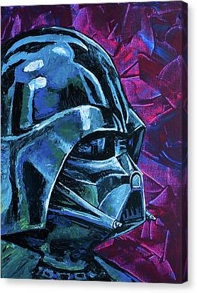 Canvas Print featuring the painting Star Wars Helmet Series - Darth Vader by Aaron Spong