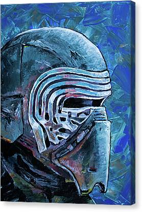 Canvas Print featuring the painting Star Wars Helmet Series - Kylo Ren by Aaron Spong