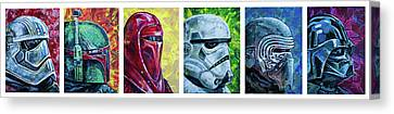 Canvas Print featuring the painting Star Wars Helmet Series - Panorama by Aaron Spong