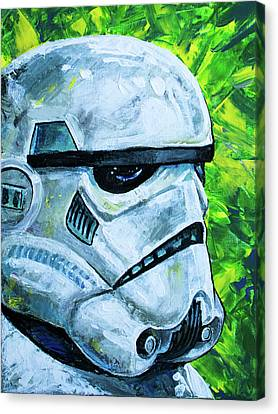 Canvas Print featuring the painting Star Wars Helmet Series - Storm Trooper by Aaron Spong