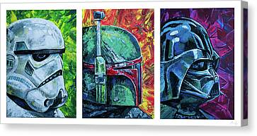 Canvas Print featuring the painting Star Wars Helmet Series - Triptych by Aaron Spong