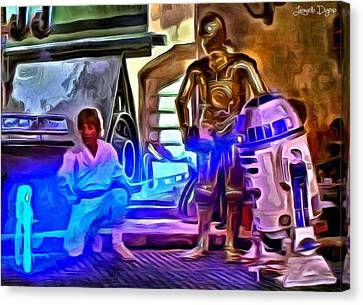 Falcon Canvas Print - Star Wars Hologram - Da by Leonardo Digenio