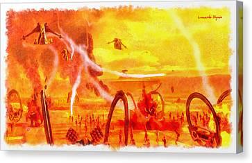 Planets Canvas Print - Star Wars Last Jedi Battlefield - Da by Leonardo Digenio