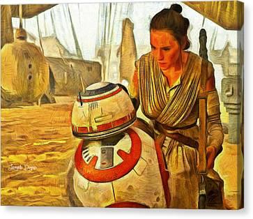 Star Wars Rey And Bb-8  - Van Gogh Style -  - Pa Canvas Print