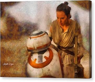 Star Wars Rey And Bb-8  - Wax Style -  - Pa Canvas Print by Leonardo Digenio