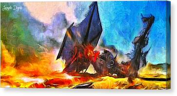 Star Wars Shot Down - Da Canvas Print by Leonardo Digenio