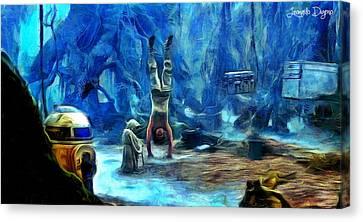 Star Wars Training Body And Mind Canvas Print by Leonardo Digenio