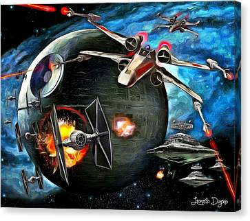 X-wing Canvas Print - Star Wars Worlds At War - Da by Leonardo Digenio