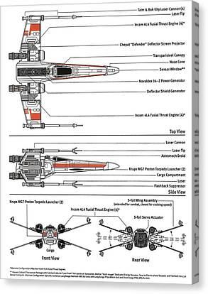 X-wing Canvas Print - Star Wars X Wing Plans by Paul Van Scott