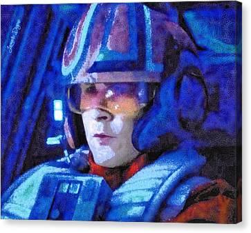 Attack Canvas Print - Star Wars Yolo Ziff Rebel Pilot - Da by Leonardo Digenio