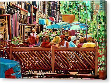 Starbucks Cafe On Monkland Montreal Cityscene Canvas Print