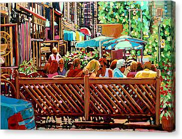 Starbucks Cafe On Monkland Montreal Cityscene Canvas Print by Carole Spandau