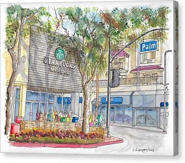 Coffee Shop Canvas Print - Starbucks Coffee In San Fernando Rd And Palms, Burbank, California by Carlos G Groppa