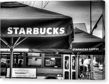 Starbucks Umbrella Canvas Print by Spencer McDonald