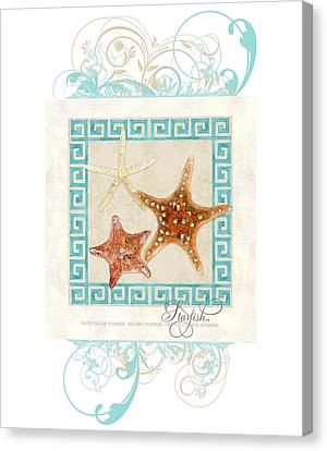 Starfish Greek Key Pattern W Swirls Canvas Print by Audrey Jeanne Roberts