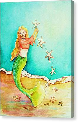 Starfish Mermaid Canvas Print by Patricia Piffath
