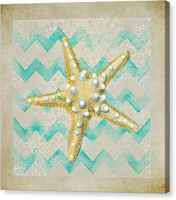 Starfish In Modern Waves Canvas Print by Sandi OReilly