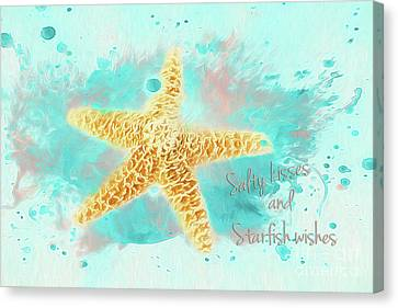 Canvas Print featuring the photograph Starfish Wishes by Darren Fisher