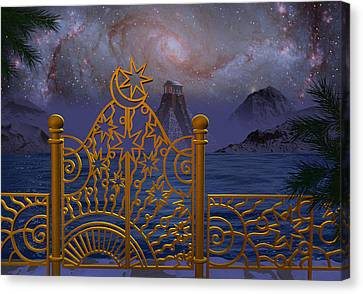 Stargate-temple-galaxy Canvas Print by Terry Anderson