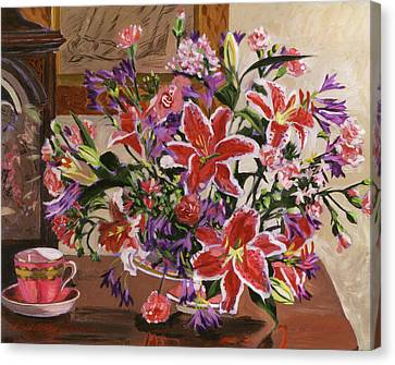 Stargazer Lilies Canvas Print by David Lloyd Glover