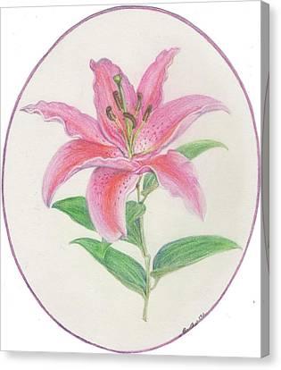 Stargazer Lily Canvas Print by Joanna Aud