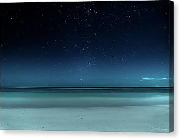 Stargazing On Bahia Honda Beach Canvas Print by Chris M Sheridan
