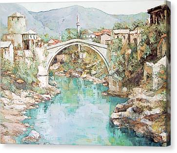 Stari Most Bridge Over The Neretva River In Mostar Bosnia Herzegovina Canvas Print by Joseph Hendrix