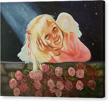 Canvas Print featuring the painting Starlight Angel by Joni McPherson