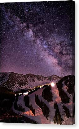 Starlight Mountain Ski Hill Canvas Print by Mike Berenson