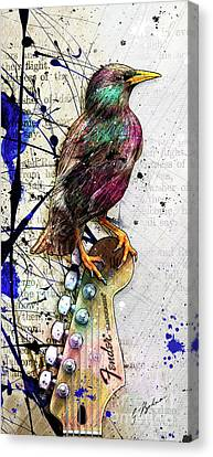Starling On A Strat Canvas Print by Gary Bodnar