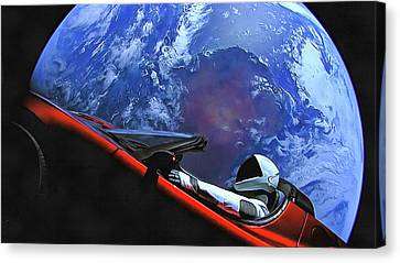 Starman In Tesla With Planet Earth Canvas Print