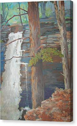 Canvas Print featuring the painting Starrucca Pa. Falls by Tony Caviston