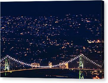 Canvas Print featuring the photograph Starry Lions Gate Bridge - Mdxxxii By Amyn Nasser by Amyn Nasser