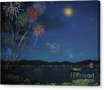 Starry Night At Crooked Creek Marina Canvas Print by Jackie Hill