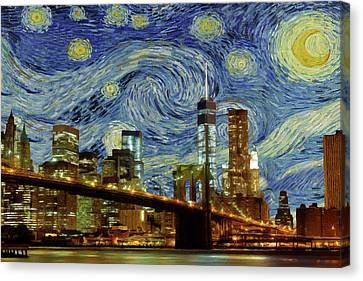 Canvas Print featuring the painting Starry Night Brooklyn Bridge by Movie Poster Prints