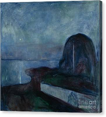 Munch Canvas Print - Starry Night By Edvard Munch by Esoterica Art Agency