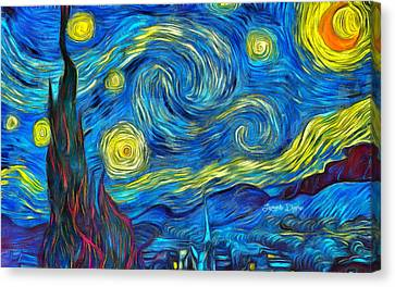 Starry Night By Vincent Van Gogh Revisited - Da Canvas Print by Leonardo Digenio