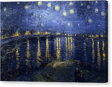 Starry Night Over The Rhone Canvas Print by Vincent Van Gogh