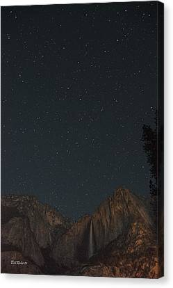 Starry Night Over Yosemite Falls Canvas Print by Bill Roberts