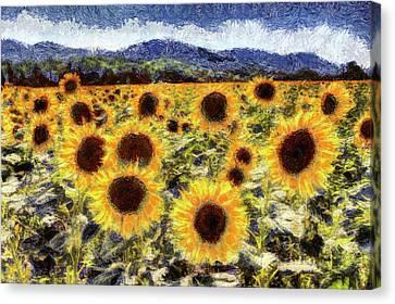 Starry Canvas Print - Starry Night Sunflowers Van Gogh by David Pyatt
