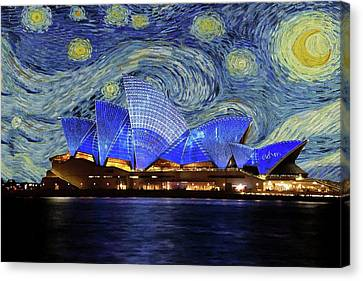 Canvas Print featuring the painting Starry Night Sydney Opera House by Movie Poster Prints