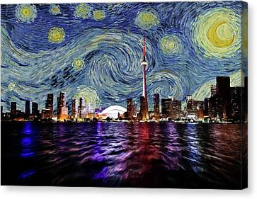 Canvas Print featuring the painting Starry Night Toronto Canada by Movie Poster Prints
