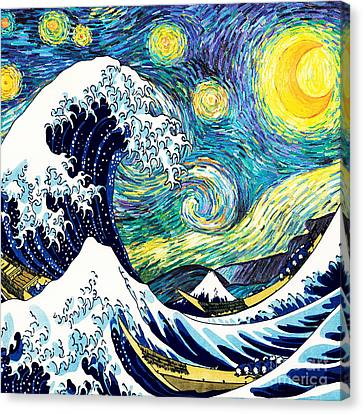 Starry Night Wave Canvas Print by Devika Indriani