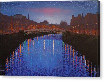 Starry Nights In Dublin Ha' Penny Bridge Canvas Print by John  Nolan