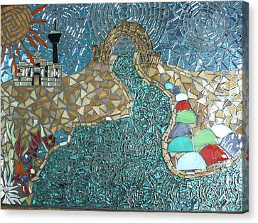 Starry Riverwalk Canvas Print by Ann Salas